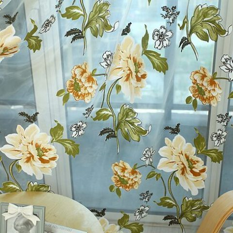 Classic Flower Curtain Tulle Curtains