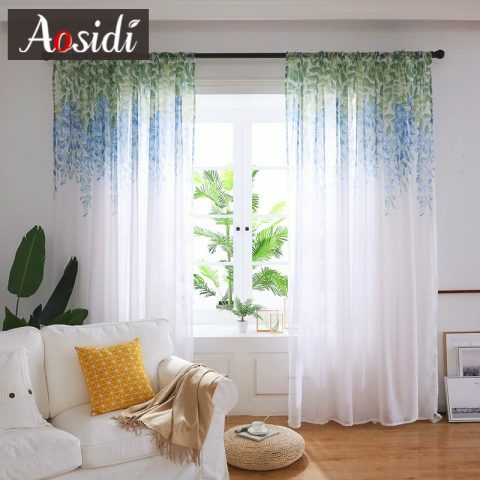 Wisteria Flower Modern Tulle Curtains